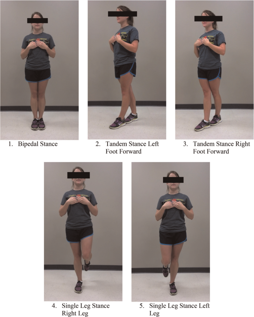 Example of woman taking Sway Balance Assessment, and the different positions - same movements used used for Voxx Socks for Balance clinical study